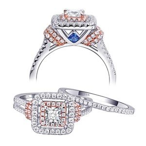 Jewelry - 2pcs 925 Silver Engagement Ring Wedding Band Set